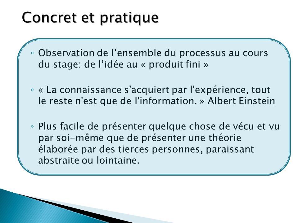 Concret et pratique Observation de l'ensemble du processus au cours du stage: de l'idée au « produit fini »