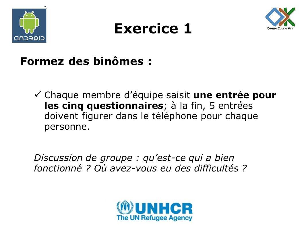 Exercice 1 Formez des binômes :