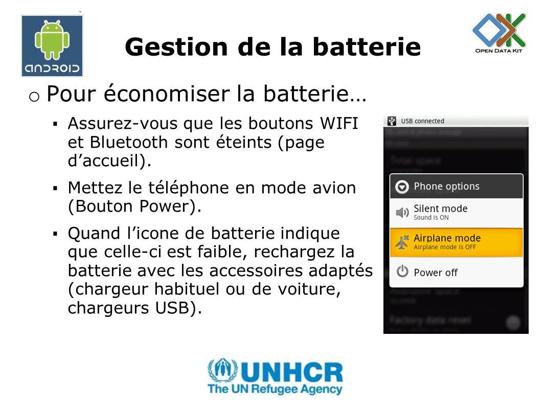 Gestion de la batterie Pour économiser la batterie…