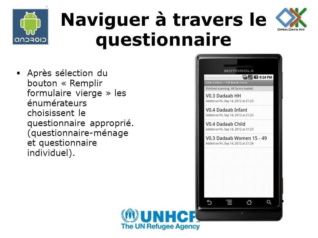 Naviguer à travers le questionnaire