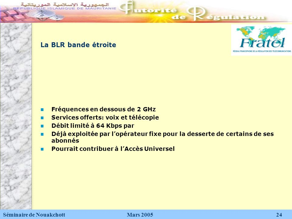 La BLR bande étroite Fréquences en dessous de 2 GHz