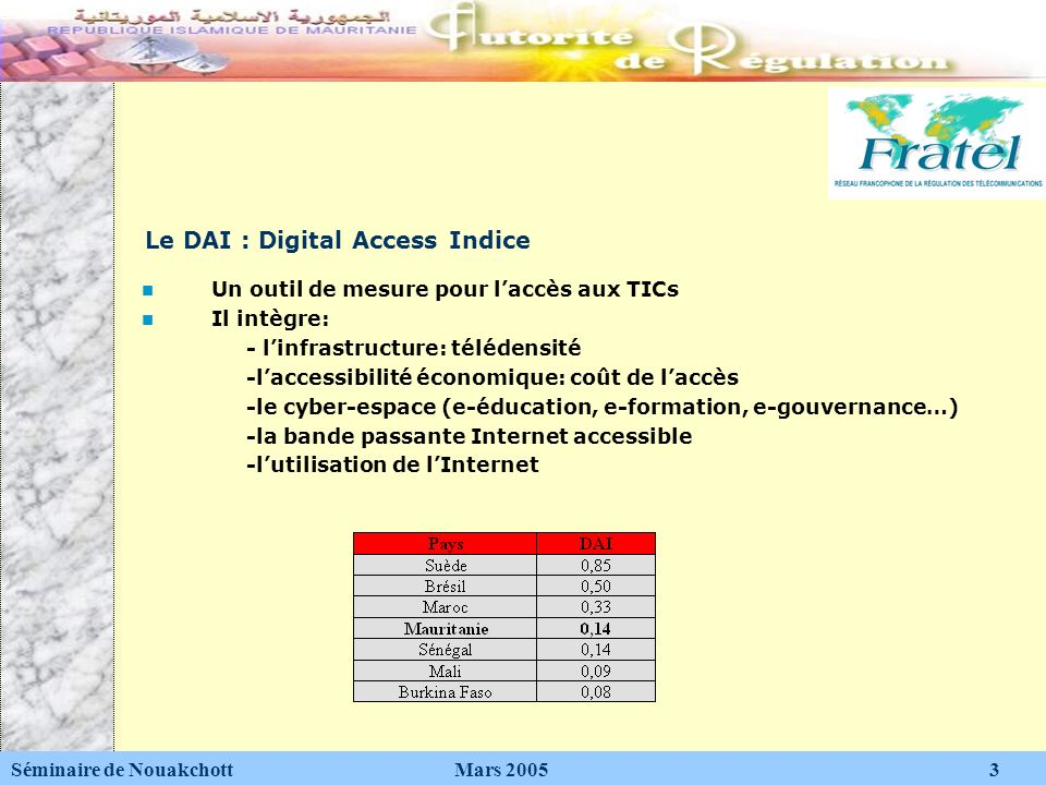 Le DAI : Digital Access Indice