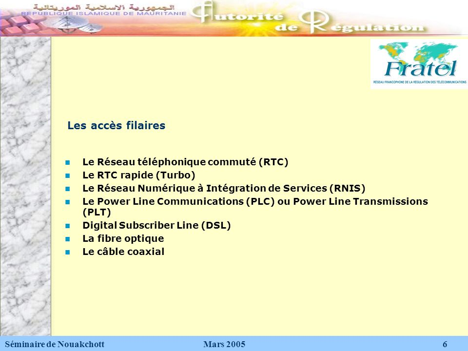 Les accès filaires Le Réseau téléphonique commuté (RTC)