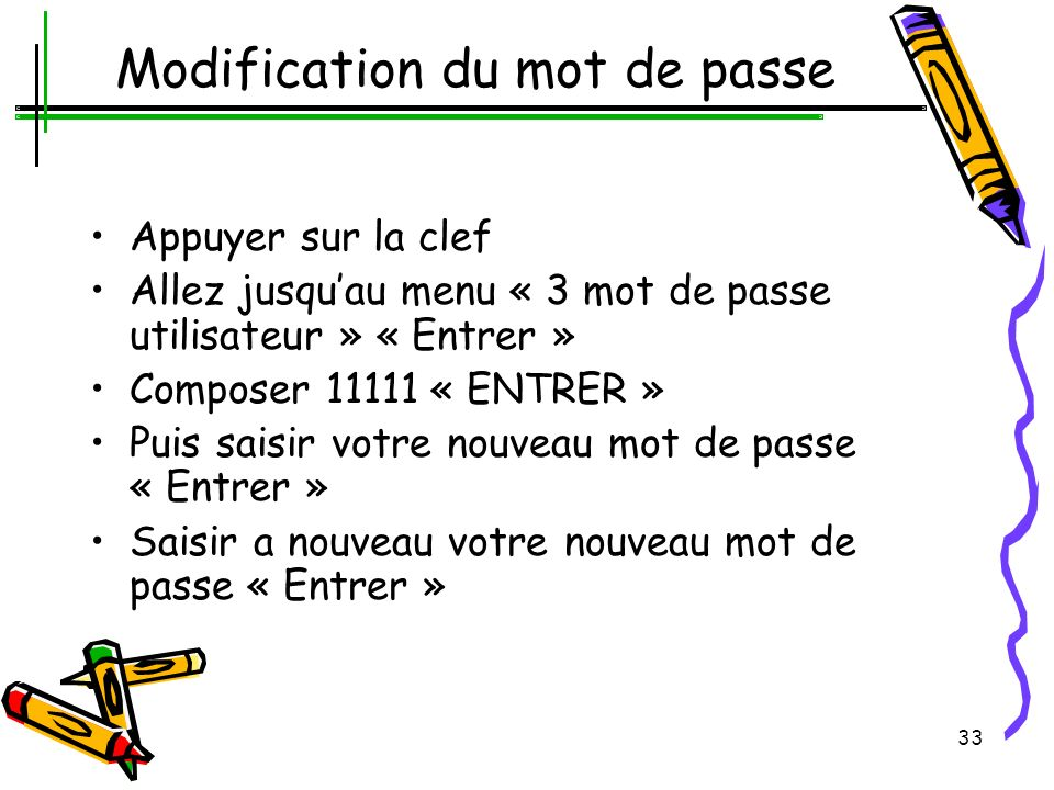 Modification du mot de passe