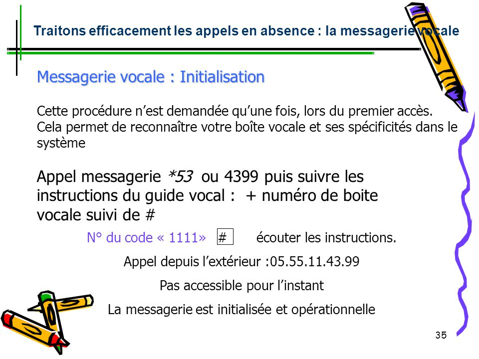 Messagerie vocale : Initialisation