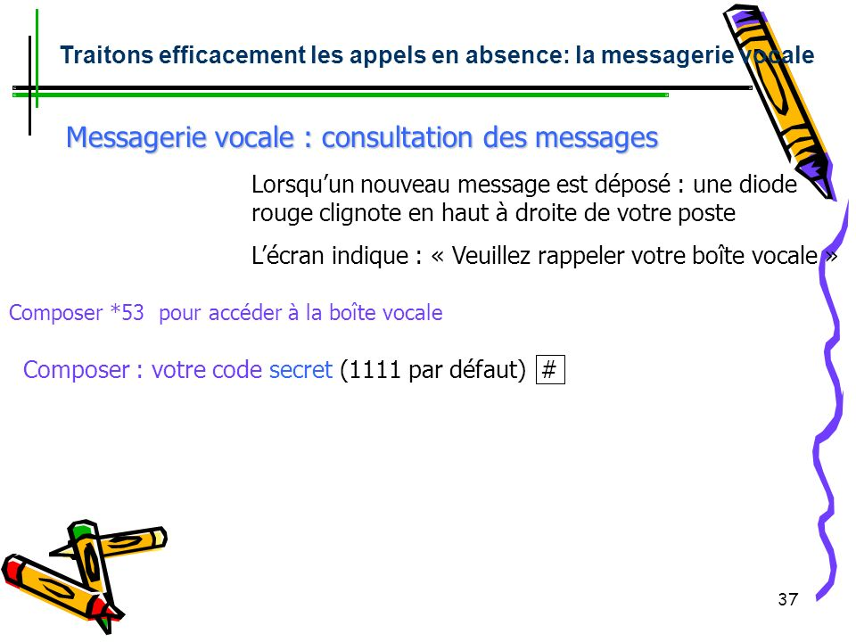 Messagerie vocale : consultation des messages