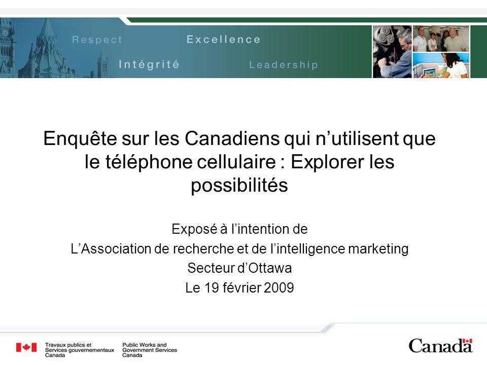 Enquête sur les Canadiens qui n'utilisent que le téléphone cellulaire : Explorer les possibilités