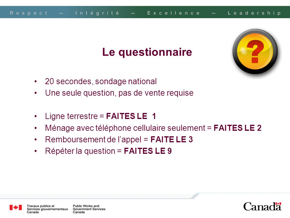 Le questionnaire 20 secondes, sondage national