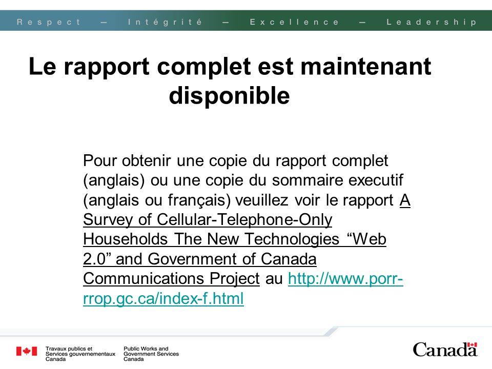 Le rapport complet est maintenant disponible