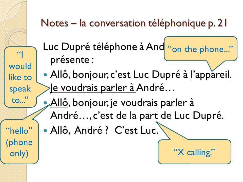 Notes – la conversation téléphonique p. 21