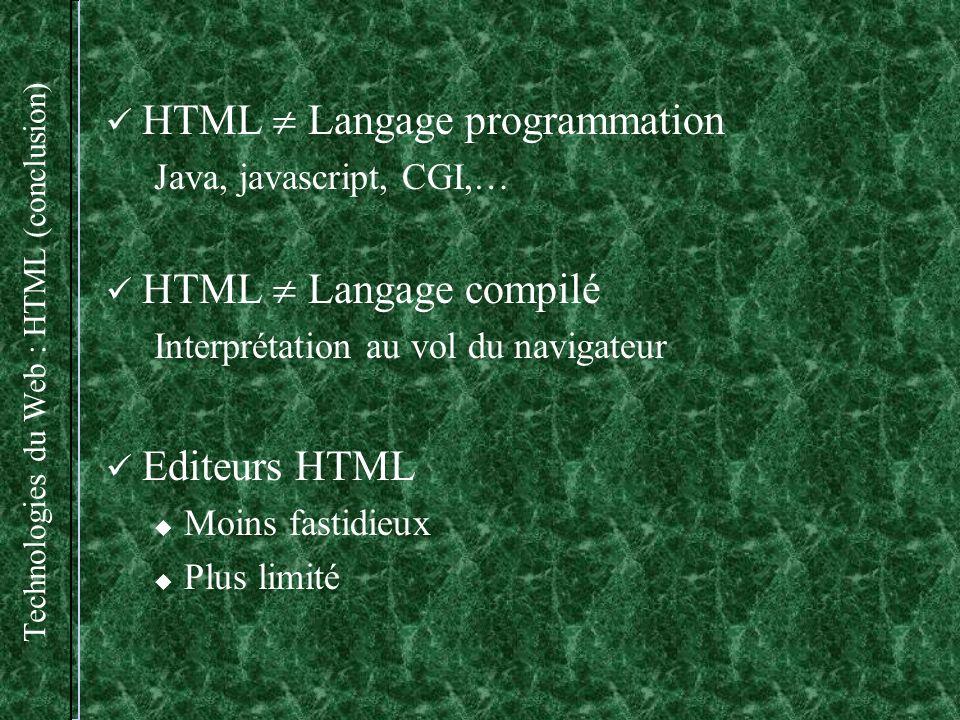 Technologies du Web : HTML (conclusion)