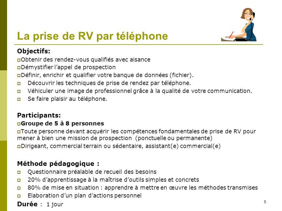 La prise de RV par téléphone