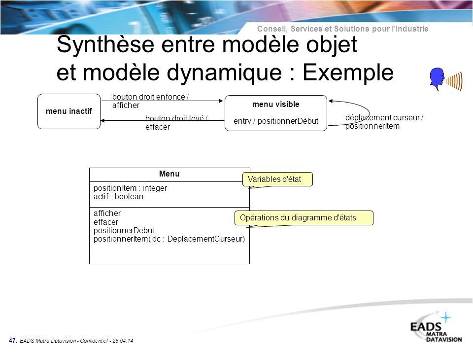 Synthèse entre modèle objet et modèle dynamique : Exemple