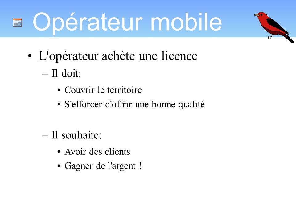 Opérateur mobile L opérateur achète une licence Il doit: Il souhaite: