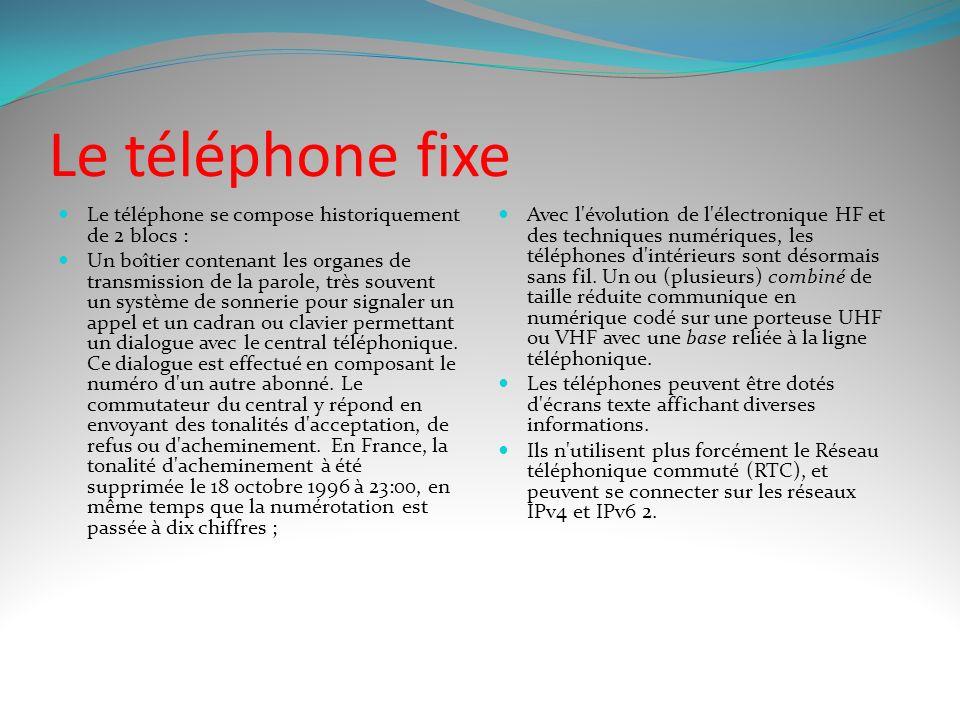 Le téléphone fixe Le téléphone se compose historiquement de 2 blocs :