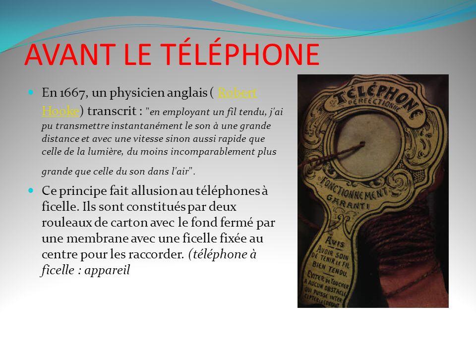AVANT LE TÉLÉPHONE
