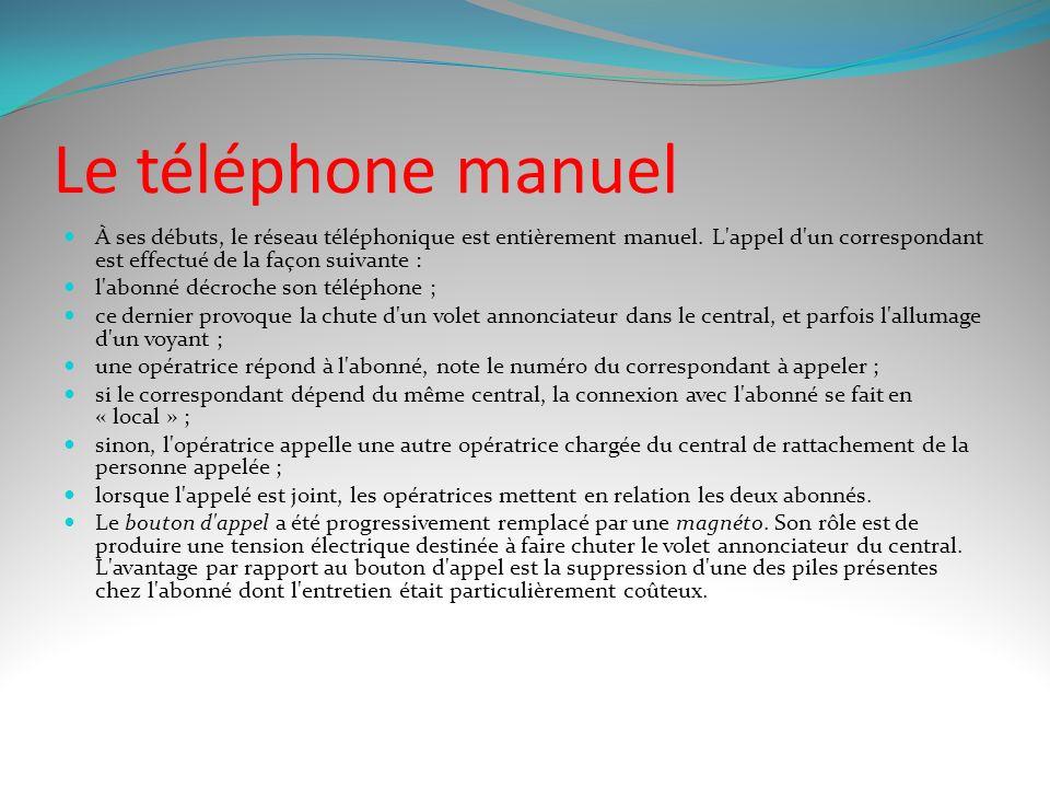 Le téléphone manuel À ses débuts, le réseau téléphonique est entièrement manuel. L appel d un correspondant est effectué de la façon suivante :