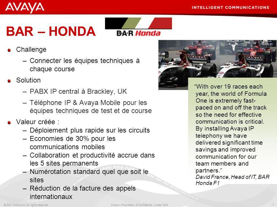 BAR – HONDA Challenge Connecter les équipes techniques à chaque course