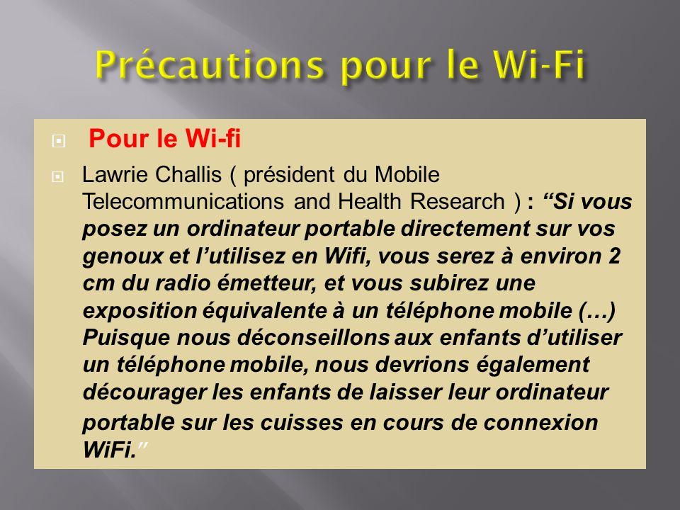Précautions pour le Wi-Fi