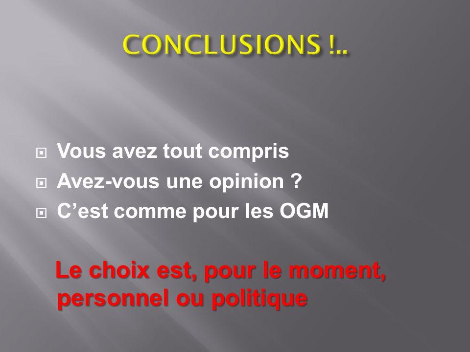 CONCLUSIONS !.. Le choix est, pour le moment, personnel ou politique