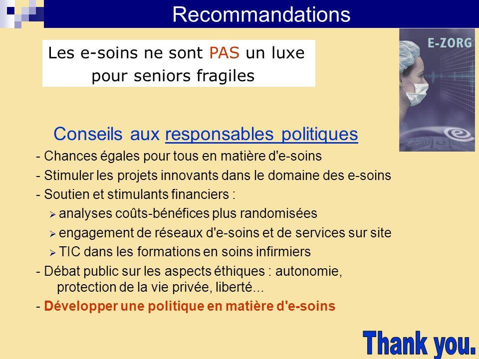 Thank you. Recommandations Conseils aux responsables politiques
