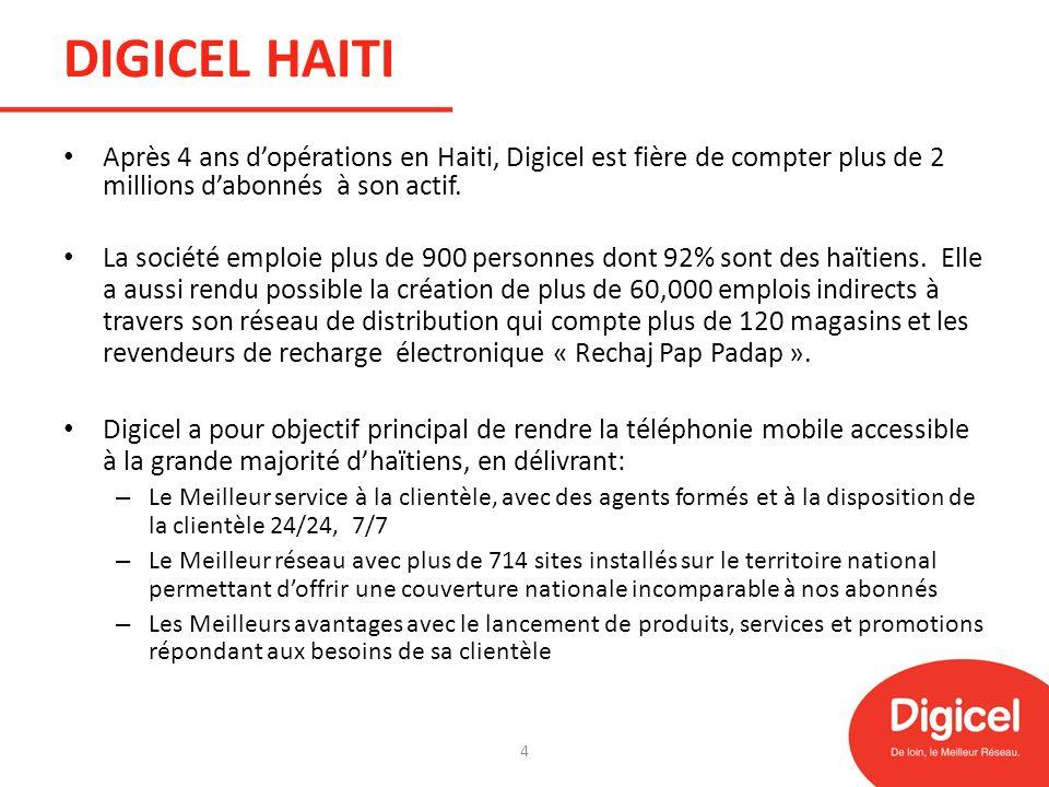 DIGICEL HAITI Après 4 ans d'opérations en Haiti, Digicel est fière de compter plus de 2 millions d'abonnés à son actif.
