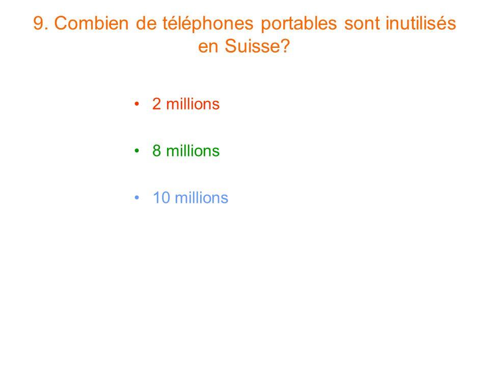 9. Combien de téléphones portables sont inutilisés en Suisse