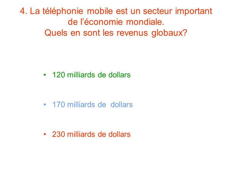 4. La téléphonie mobile est un secteur important de l'économie mondiale. Quels en sont les revenus globaux