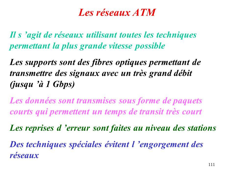 Les réseaux ATM Il s 'agit de réseaux utilisant toutes les techniques permettant la plus grande vitesse possible.