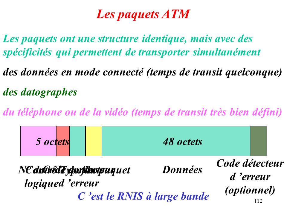 Les paquets ATM Les paquets ont une structure identique, mais avec des spécificités qui permettent de transporter simultanément.