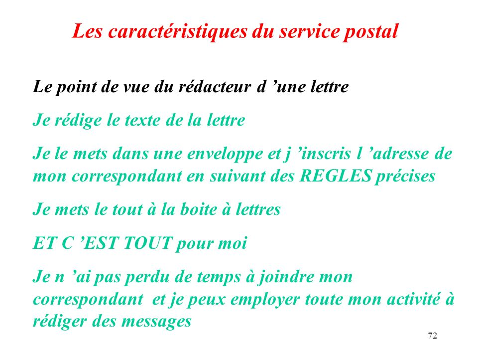 Les caractéristiques du service postal