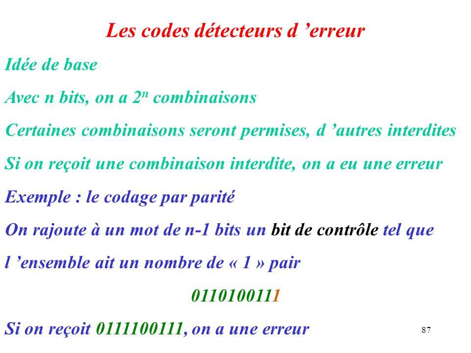Les codes détecteurs d 'erreur