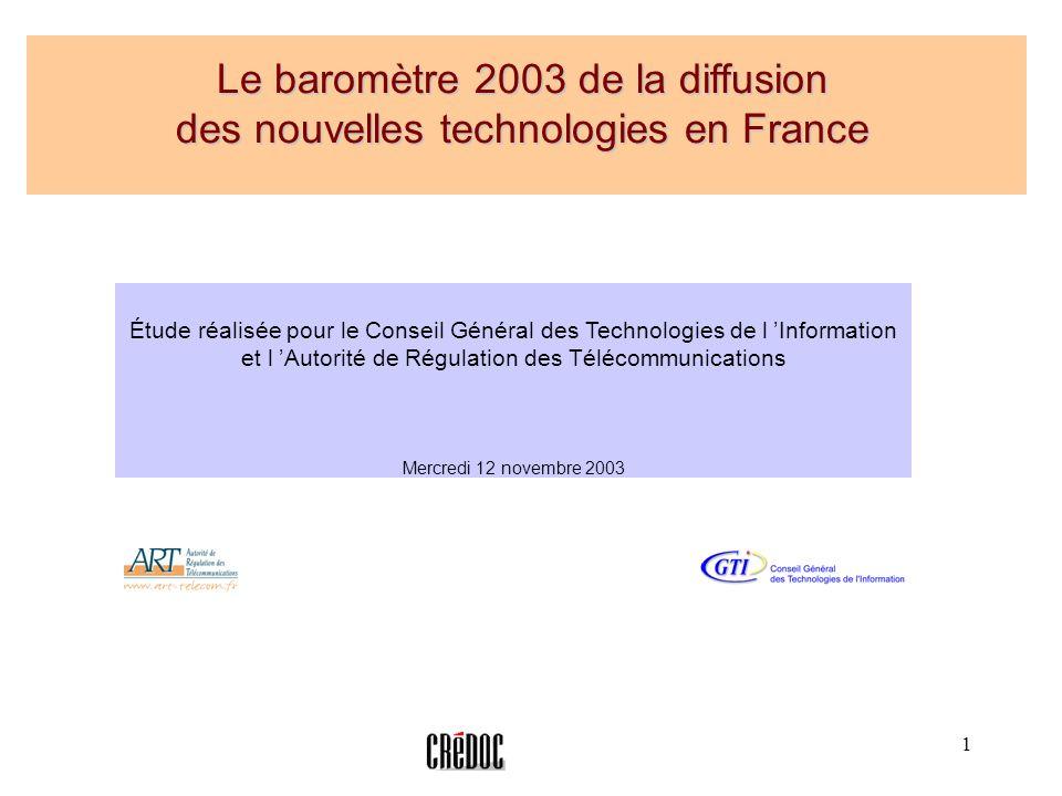 Le baromètre 2003 de la diffusion des nouvelles technologies en France