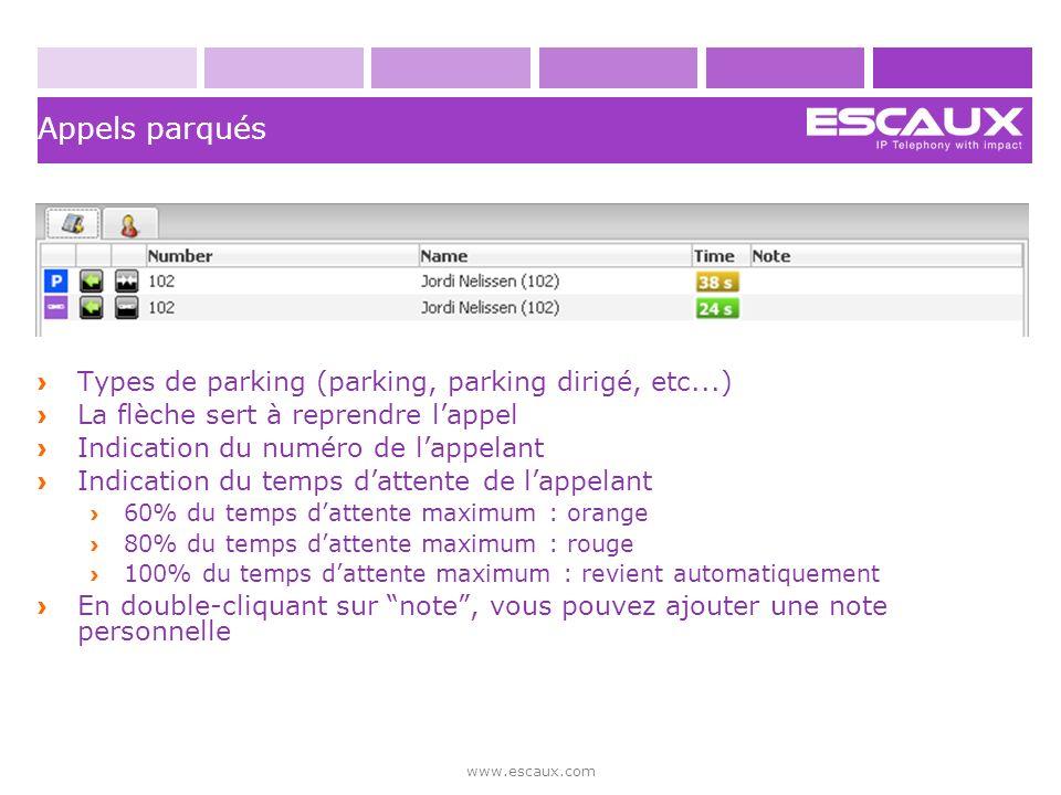 Appels parqués Types de parking (parking, parking dirigé, etc...)