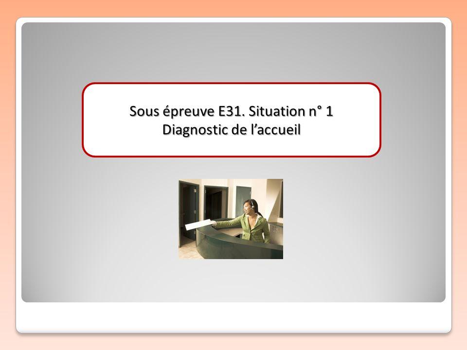 Sous épreuve E31. Situation n° 1 Diagnostic de l'accueil