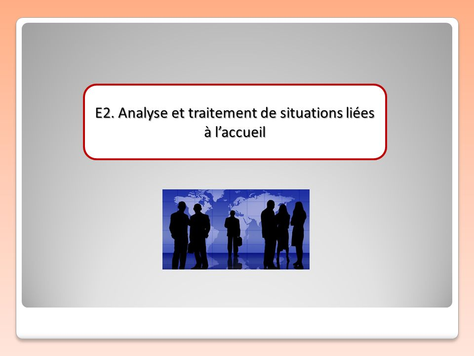 E2. Analyse et traitement de situations liées à l'accueil