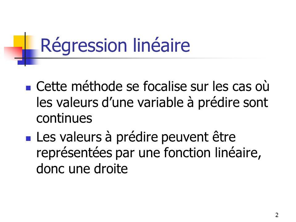Régression linéaire Cette méthode se focalise sur les cas où les valeurs d'une variable à prédire sont continues.