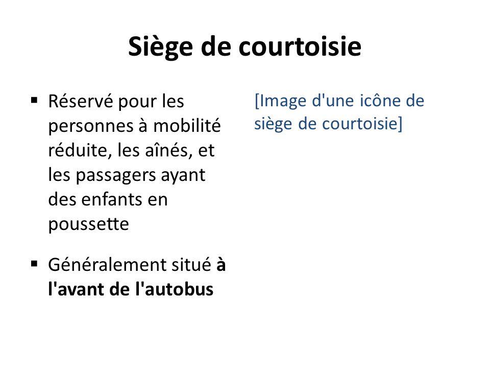 Siège de courtoisie Réservé pour les personnes à mobilité réduite, les aînés, et les passagers ayant des enfants en poussette.