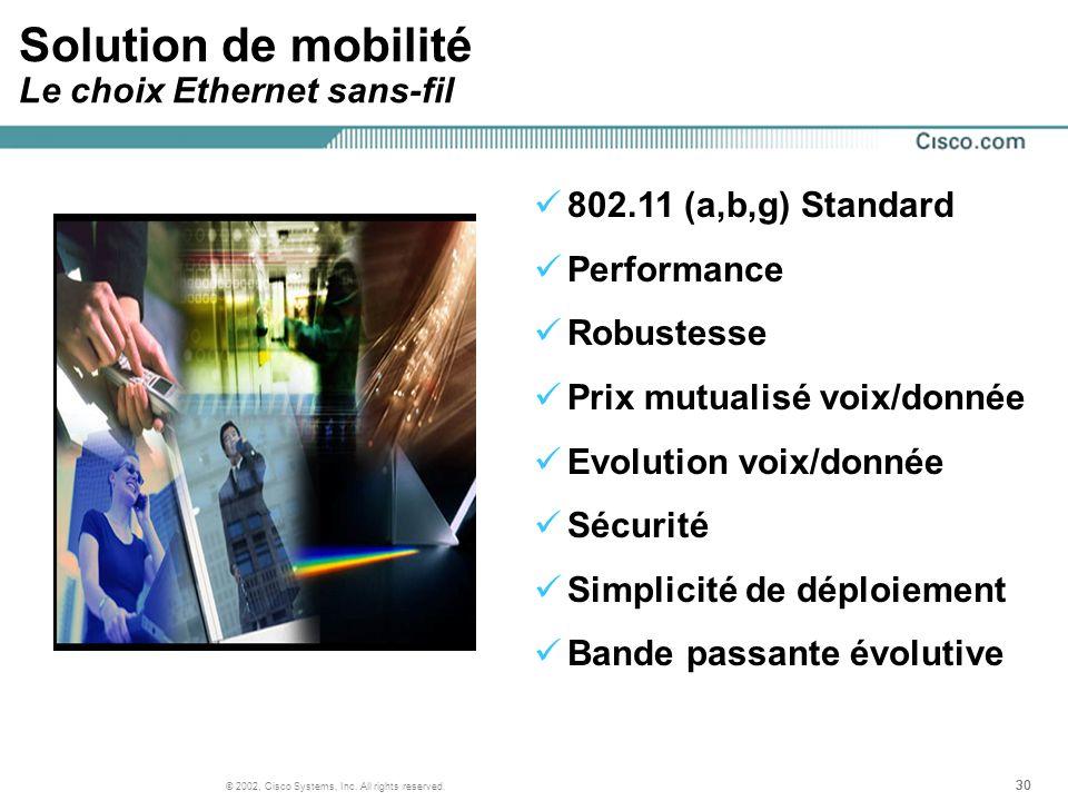 Solution de mobilité Le choix Ethernet sans-fil