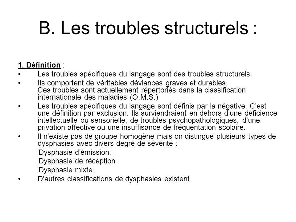 B. Les troubles structurels :