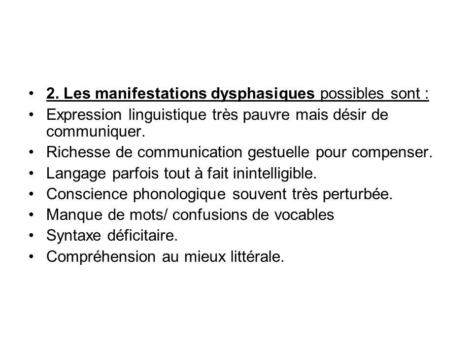 2. Les manifestations dysphasiques possibles sont :