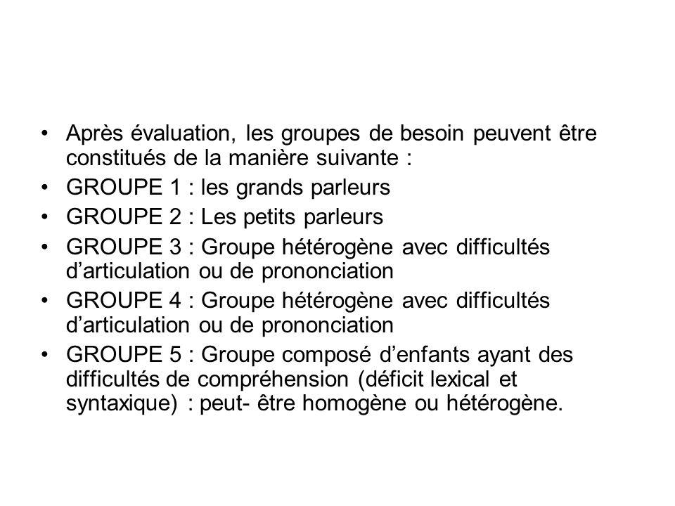 Après évaluation, les groupes de besoin peuvent être constitués de la manière suivante :