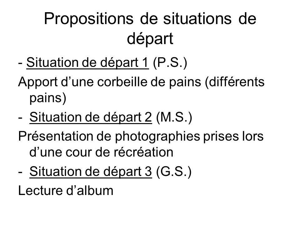 Propositions de situations de départ