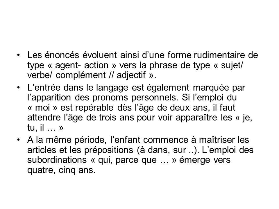 Les énoncés évoluent ainsi d'une forme rudimentaire de type « agent- action » vers la phrase de type « sujet/ verbe/ complément // adjectif ».