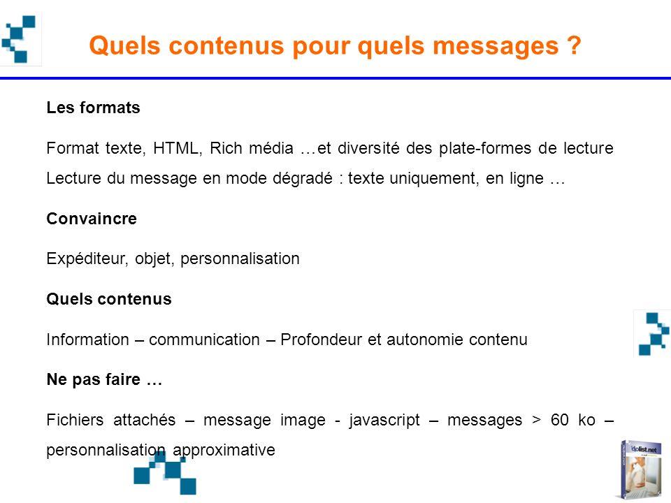 Quels contenus pour quels messages