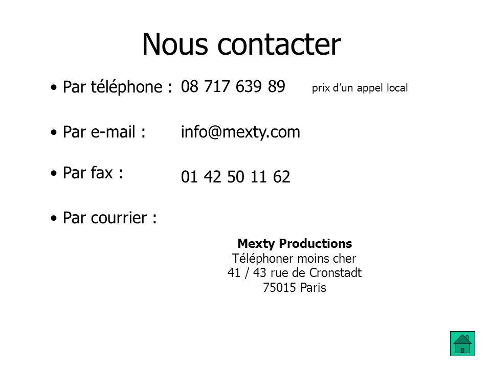 Nous contacter Par téléphone : 08 717 639 89 Par e-mail :