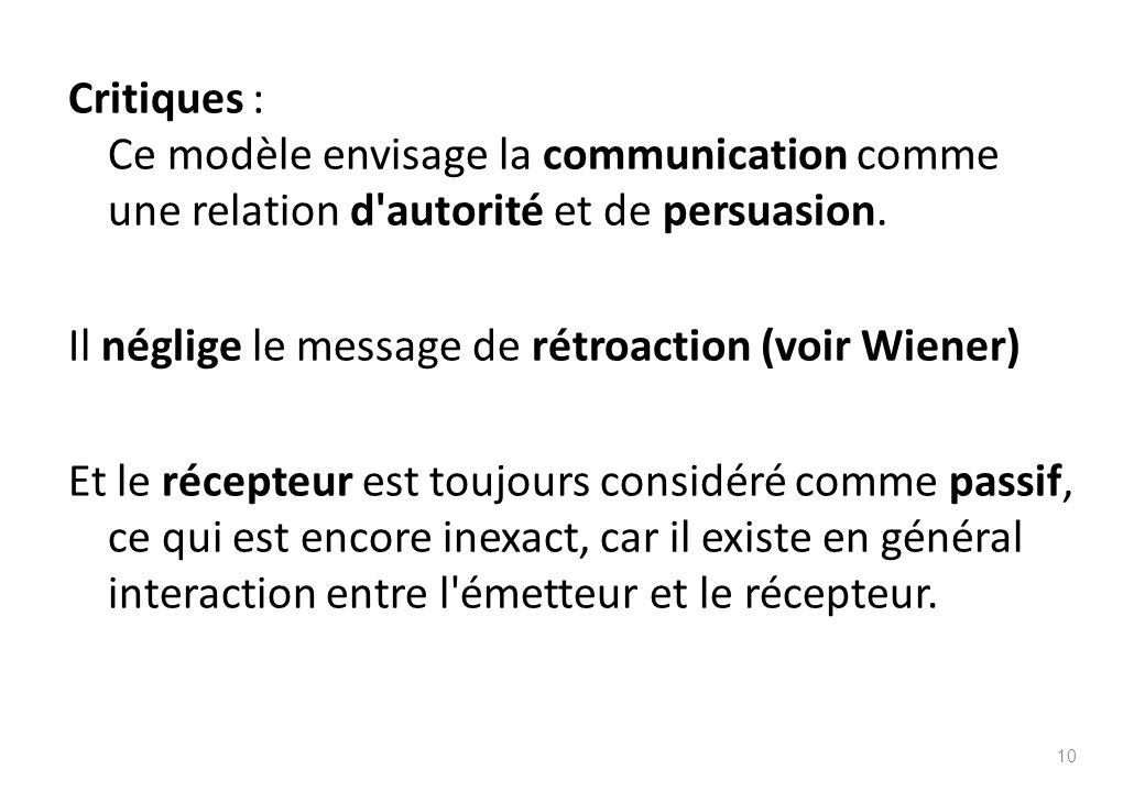 Critiques : Ce modèle envisage la communication comme une relation d autorité et de persuasion.