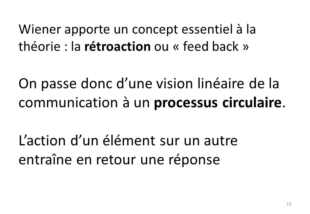 Wiener apporte un concept essentiel à la théorie : la rétroaction ou « feed back » On passe donc d'une vision linéaire de la communication à un processus circulaire.