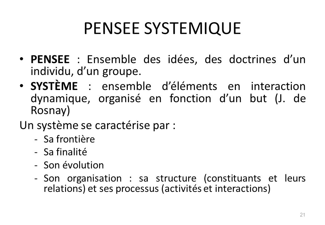 PENSEE SYSTEMIQUE PENSEE : Ensemble des idées, des doctrines d'un individu, d'un groupe.