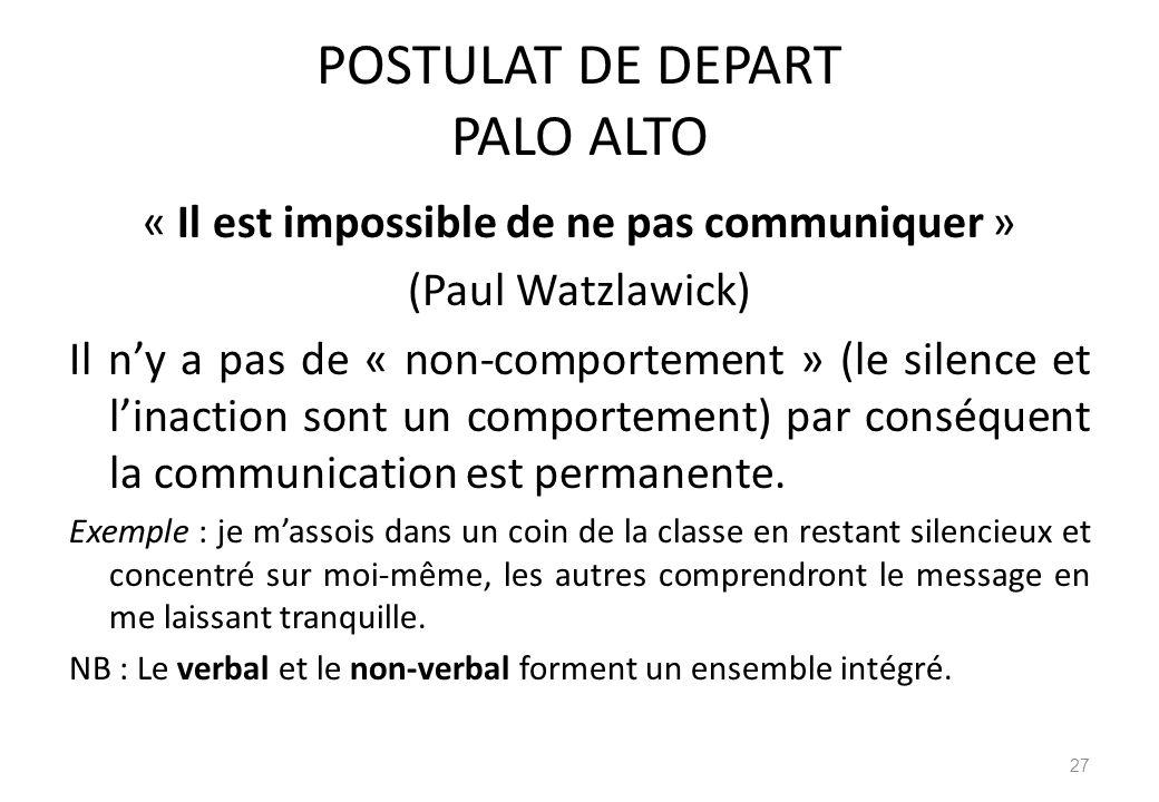 POSTULAT DE DEPART PALO ALTO